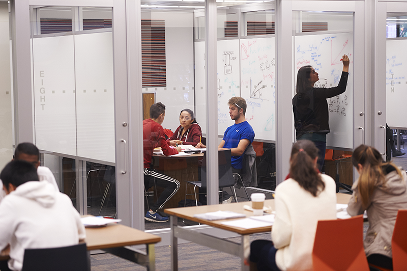 Adelphi students study in the Collaboration Studios in Swirbul Library